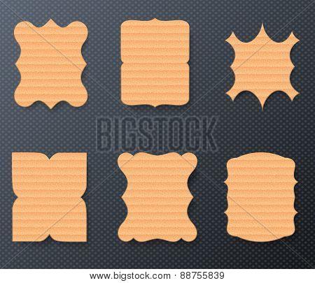 Vintage Cardboard Paper Labels Set, Vector Illustration