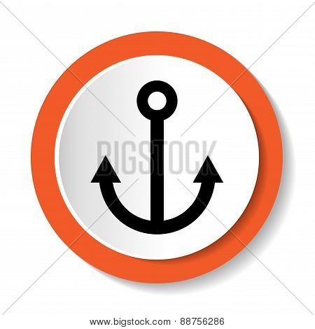 Vector round sign with an anchor