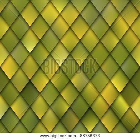 Abstract Yellow Green Rhombus Mosaic Seamless Vector Pattern. Sh