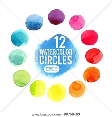 Watercolor vector circles.
