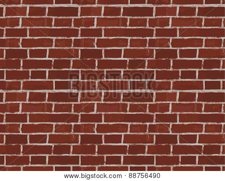 Vintage Red Brick Wall Vector Seamless Pattern