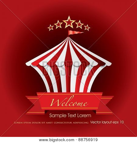 circus tent icon like cake with banner and sample text