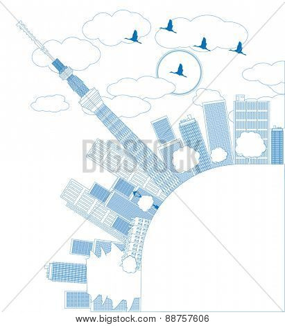 Outline Tokyo skyline with skyscrapers and sun Vector illustration in blue color