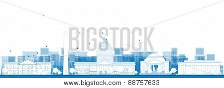 Outline Washington DC city skyline. Vector illustration in blue color