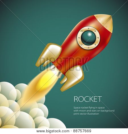 Rocket Icon  Space, Vector, Illustration, Fire, Symbol, Flame, Cartoon,