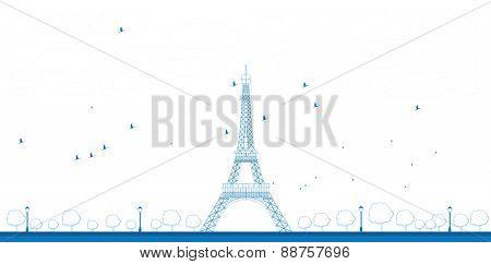 Outline Vector illustration of Eiffel Tower