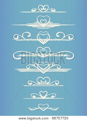 Ornamental calligraphic line with heart design element Page decoration Vector set