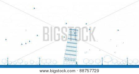Outline Pisa Tower in blue color. Vector illustration