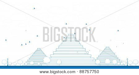 Outline Pyramids in Giza Vector illustration in flat style