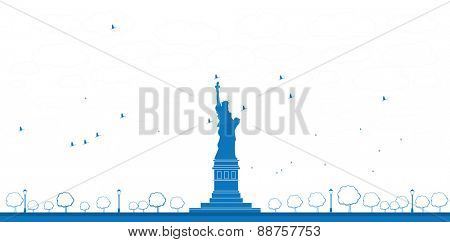 Outline Statue of Liberty New York. Vector Illustration
