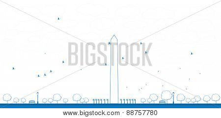 Outline Washington Monument in blue color Washington DC Vector illustration