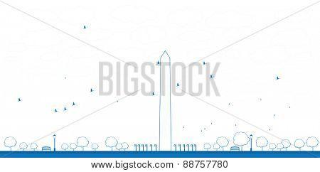 Outline Washington Monument in blue color Washington DC Vector illustration