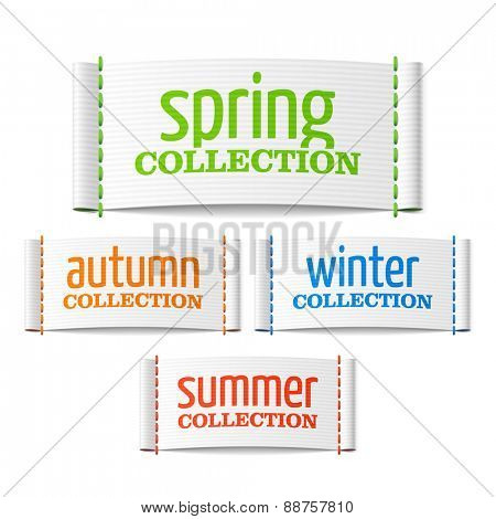Spring, summer, autumn and winter collection labels. Vector.