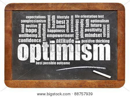 optimism word cloud on a vintage, slate blackboard isolated on white