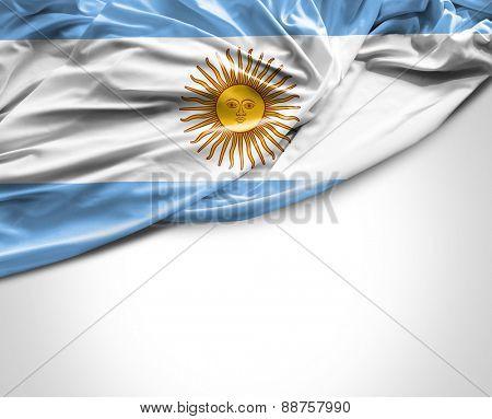 Argentine waving flag on white background