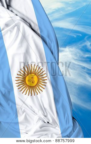 Argentine waving flag on beautiful day