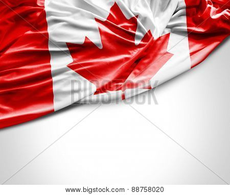 Canadian waving flag on white background
