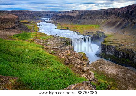 Hafragilsfoss - one of three large waterfalls on Jokulsa a Fjollum river in Iceland
