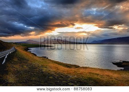 Eyjafjordur fjord in Northern Iceland at sunset