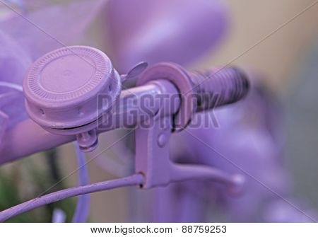 Violet Bicycle Handlebar With Purple Bicycle Bell