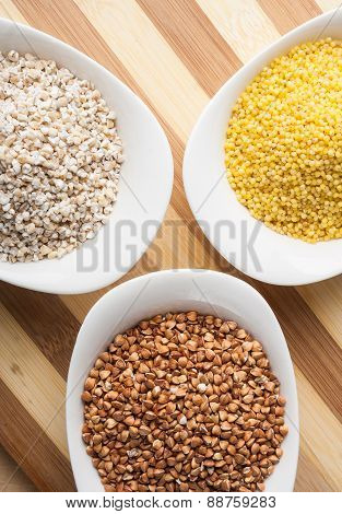 Three Kinds Of Groats: Buckwheat, Millet And Barley Groats