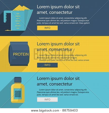 Protein supplements colored vector illustration