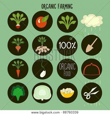 organic farming logos, stamps