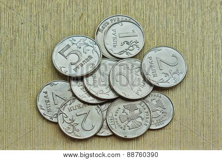 Russian Coins Spilling On The Table.