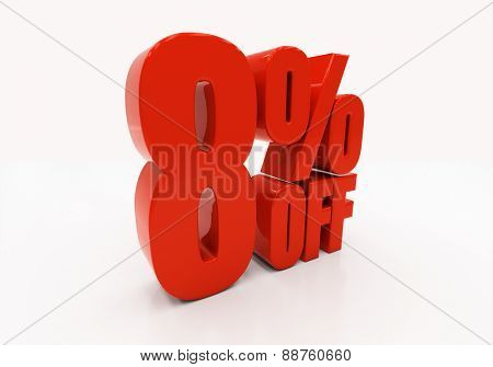 8 percent off. Discount 8. 3D illustration