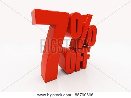 7 percent off. Discount 7. 3D illustration