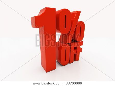 1 percent off. Discount 1. 3D illustration