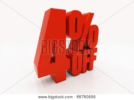 4 percent off. Discount 4. 3D illustration