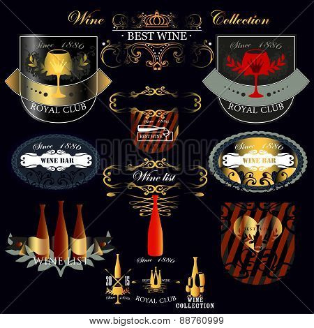 Set of vintage style elements for labels and badges for wine, vineyard, wine club and restaurant.