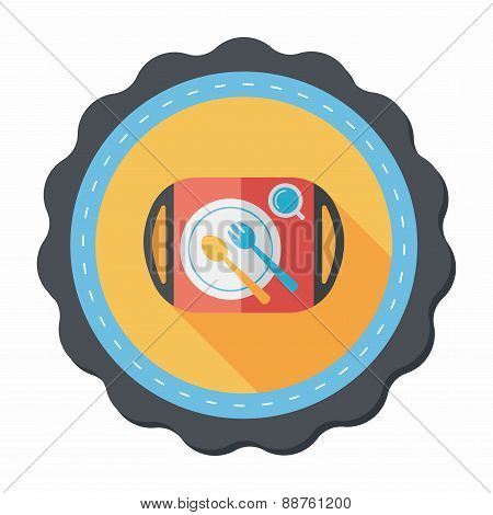 Dish Ware And Cutlery Flat Icon With Long Shadow