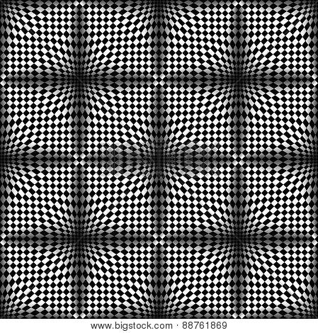 Op Art Halftone Bulge Black White, Vector Seamless Pattern