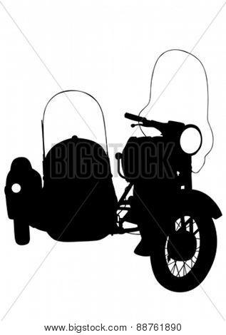 Old retro bike on white background