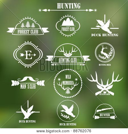 Hunting club label collecton. Vector.
