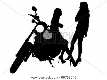 Silhouettes of motorcycle and baeuty women