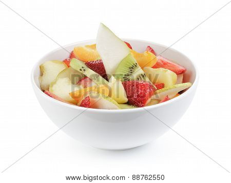 fresh mix fruit salad with strawberry, kiwi and peach, isolated