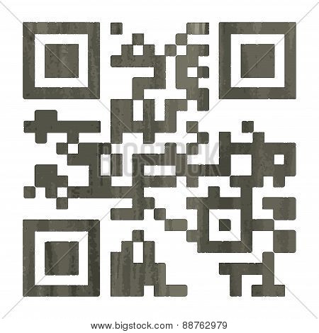 Barcode, Qr-code, 2D-barcode In Watercolor Style. Vector Illustration.
