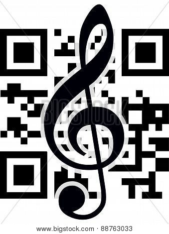 2D Barcode And Treble Clef. Vector Illustration.