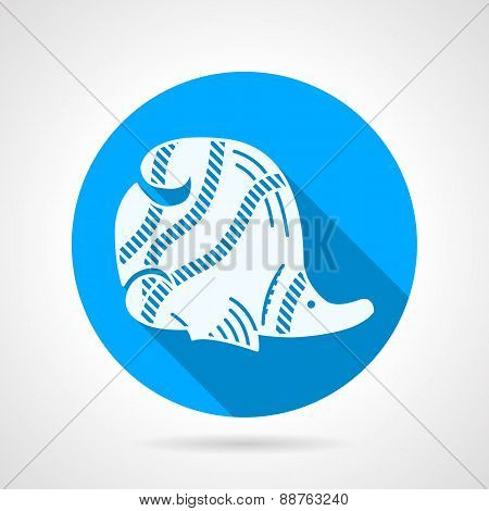 Flat blue vector icon for butterflyfish