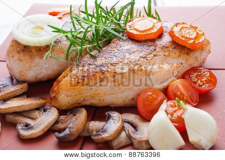 Baked Chicken Breast With Mushrooms And Carrots