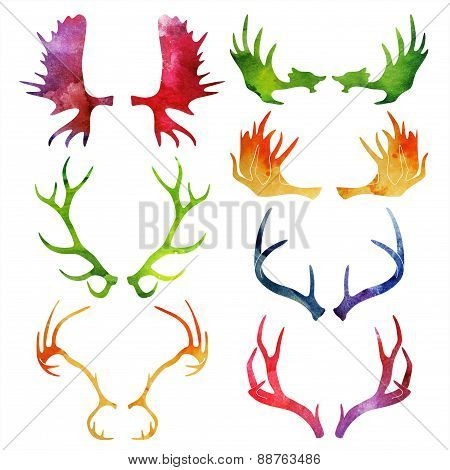 Watercolor silhouettes of deer and moose horns. vector illustration