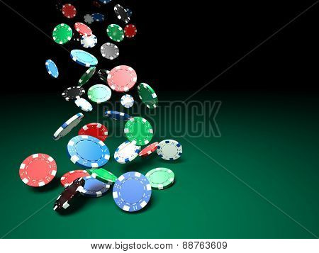 3d image of classic poker chips and green table