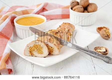 Chicken Roll Stuffed With Pumpkin And Nuts