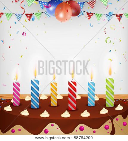 Birthday celebration with cake and decoration