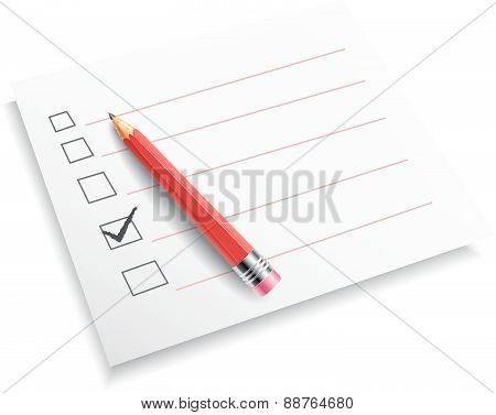 Paper and red pencil