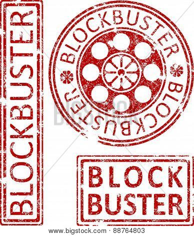 Blockbuster Ruber Stamps. Vector illustration.