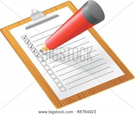 Checklist with pencil  white background